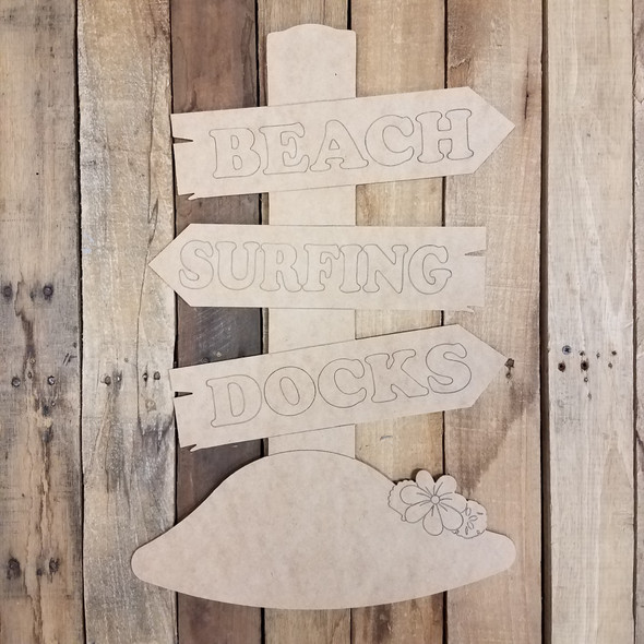 Beach Surfing Docks Sign Unfinished