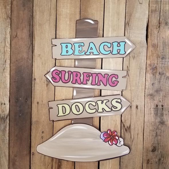 Beach Surfing Docks Sign Cutout, Shape, Paint by Line