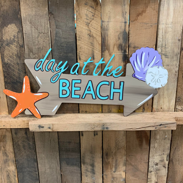 Day at the Beach Sign Cutout, Shape, Paint by Line