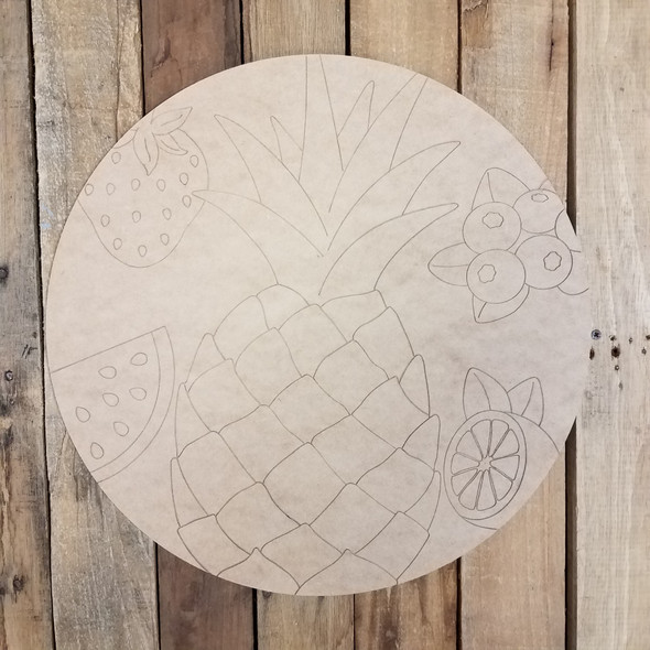 Summer Fruit Circle Plaque Unfinished
