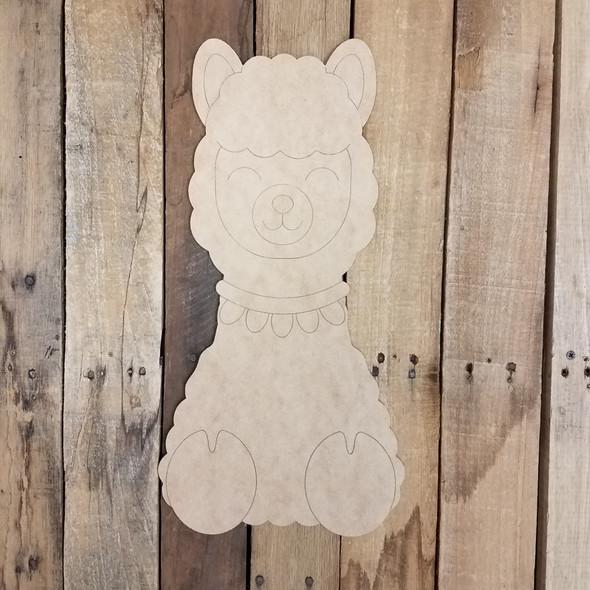 Cute Llama Shape, Unfinished Wood Cutout, Paint by Line