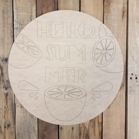 Hello Summer Orange Splash Circle Wood Shape Paint by Line