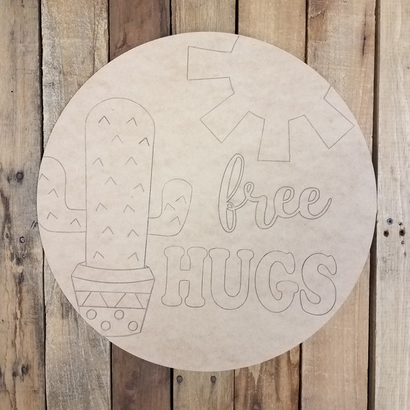 Free Hugs Cactus Circle Wood Shape Paint by Line