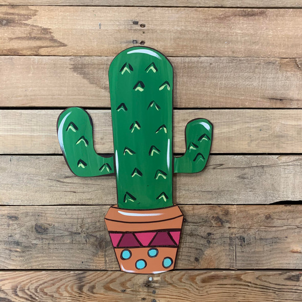 Desert Cactus in Planter, Wall Art, Wood Cutout, Paint by Line