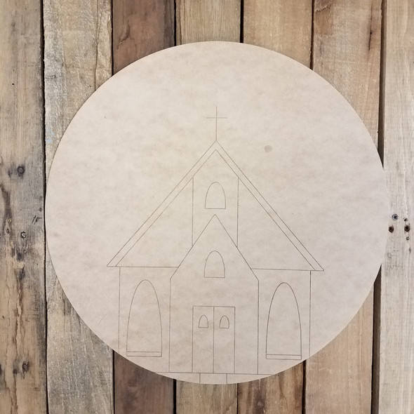 Country Circle Church, Paintable Unfinished Wood Sign, Paint by Line