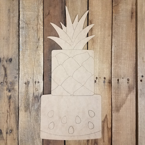 Fruit Cake Summer Shape, Unfinished Wooden Paint by Line
