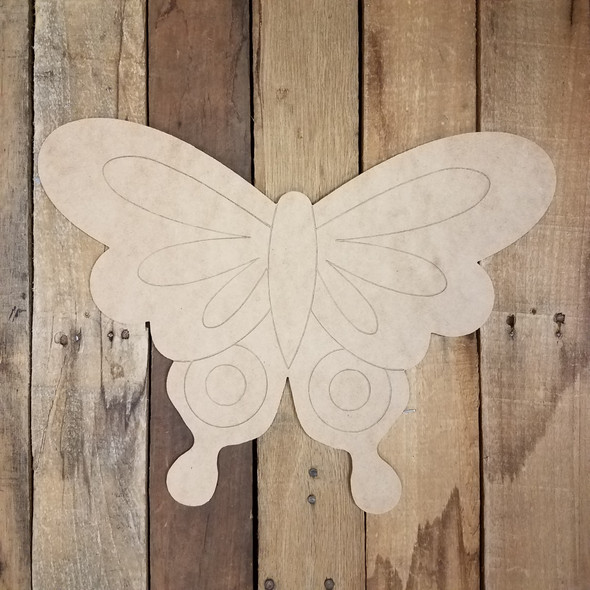 Decorative Butterfly Shape, Unfinished Wooden Paint by Line