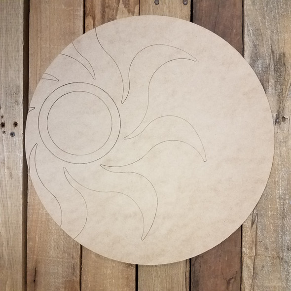 Tribal Sunburst Circle, Unfinished Shape, Paint by Line