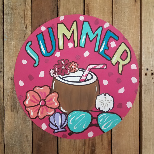 Summer Drink Beach Circle Painted
