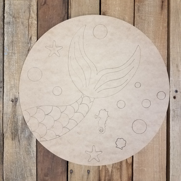Mermaid Ocean Circle, Unfinished Shape, Paint by Line