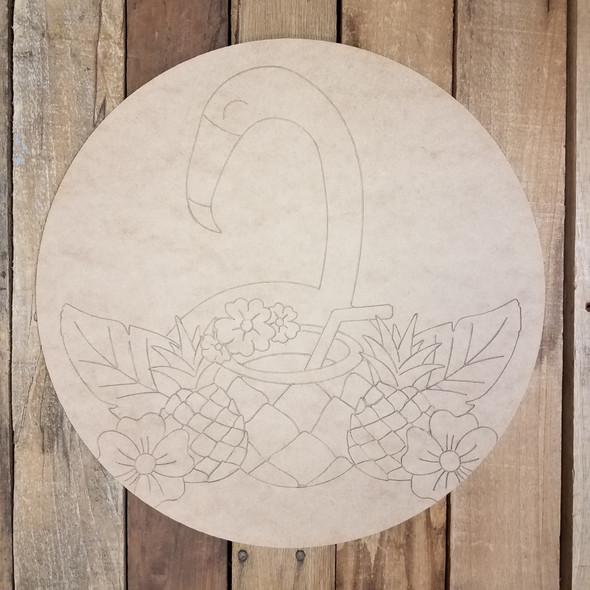 Tropical Bird with Drink Circle, Unfinished Shape, Paint by Line