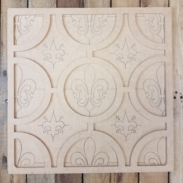 Fleur de Lis Tile 2 Piece Wall Decor Set, Unfinished Wooden Paint By Line
