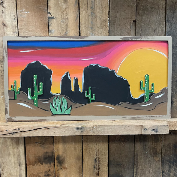 Painted Layered Desert Scene Wall Décor Set