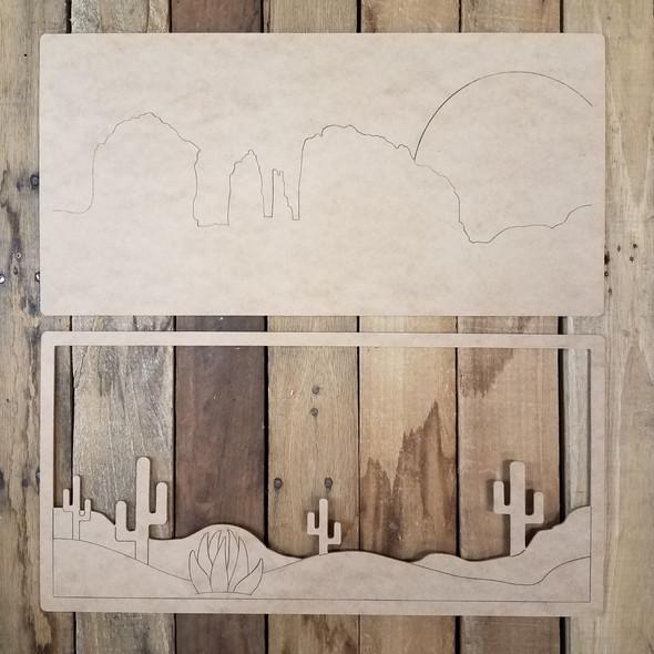 Layered Desert Scene Wall Décor Set 2 pieces