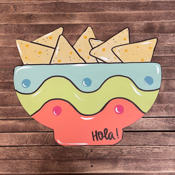 Tortilla Chips in Bowl, Unfinished Shape, Paint by Line
