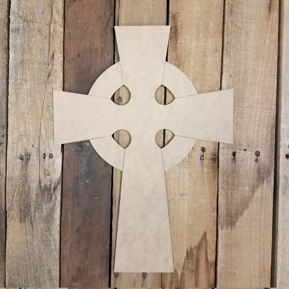 Ringed Celtic Cross Craft Cutout, Unfinished Wooden Shape, Paint By LIne