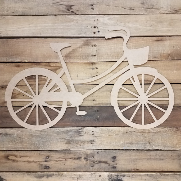 Bicycle with Basket Craft Cutout, Unfinished Wooden Shape