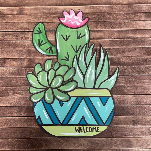 Cactus & Succulent Plants, Wood Cutout, Paint by Line