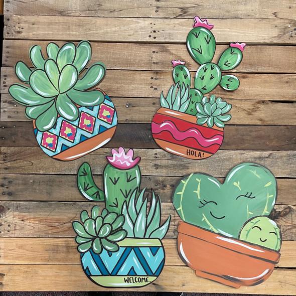Cactus & Succulent Plants, Wood Cutout, Paint by Line