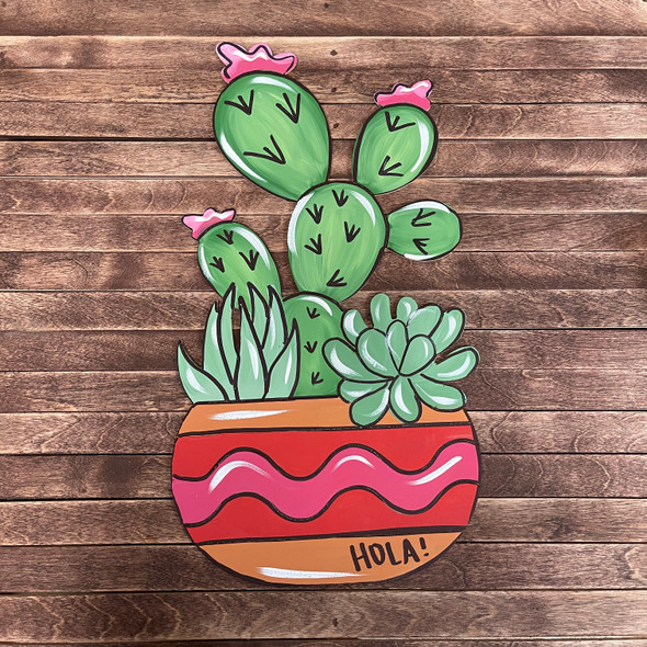 Cactus & Succulents 2 in Flower Pot, Wood Cutout, Paint by Line
