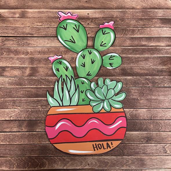 Cactus & Succulents 2 in Flower Pot, Wood Cutout, Paint by Line
