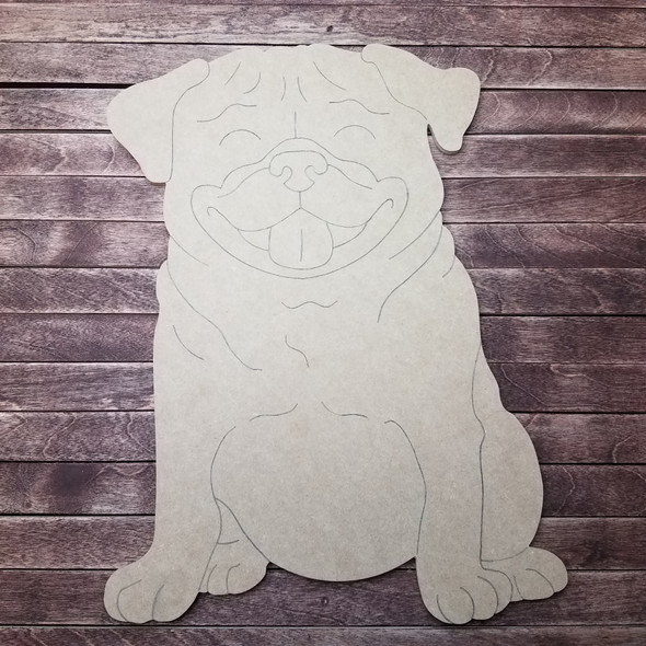 Pug Dog, Wood Cutout, Shape, Paint by Line