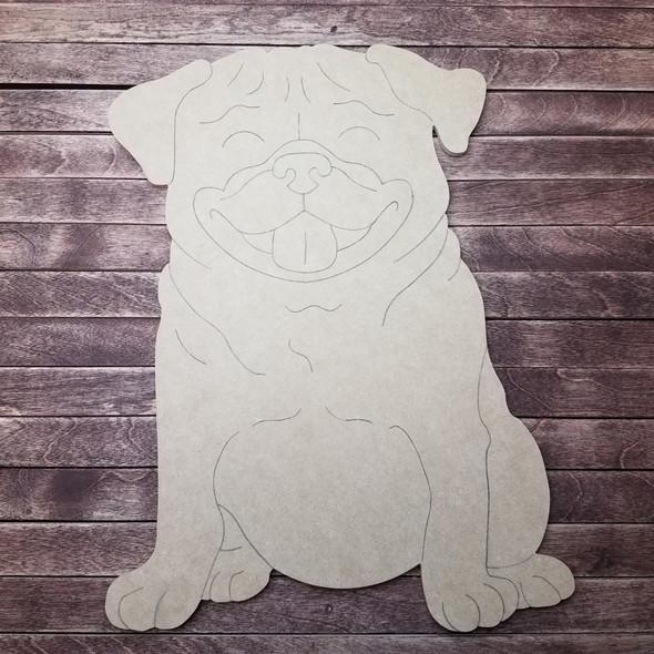 Pug Dog, Wood Cutout, Shape, Paint by Line