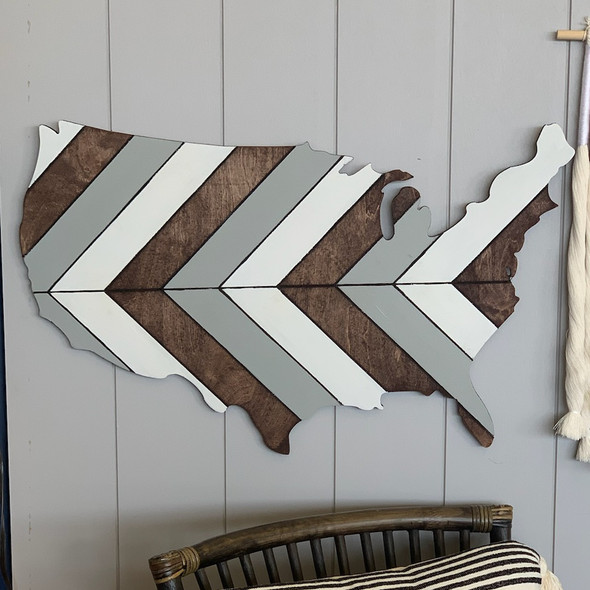 Boho Geometric Pattern USA Stained and Painted