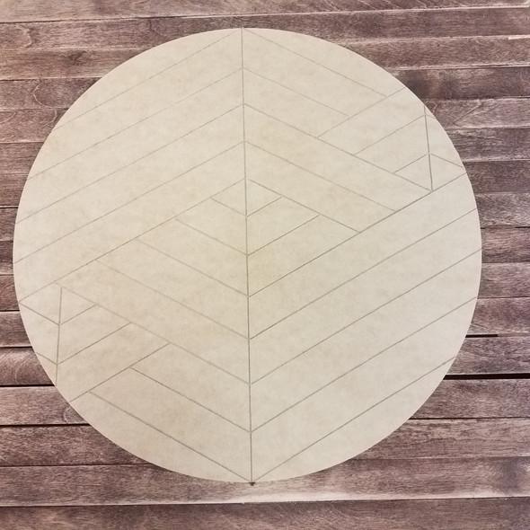 Geometric Art Circle, Boho Style 1 Unfinished Paint by Line Wood Shape