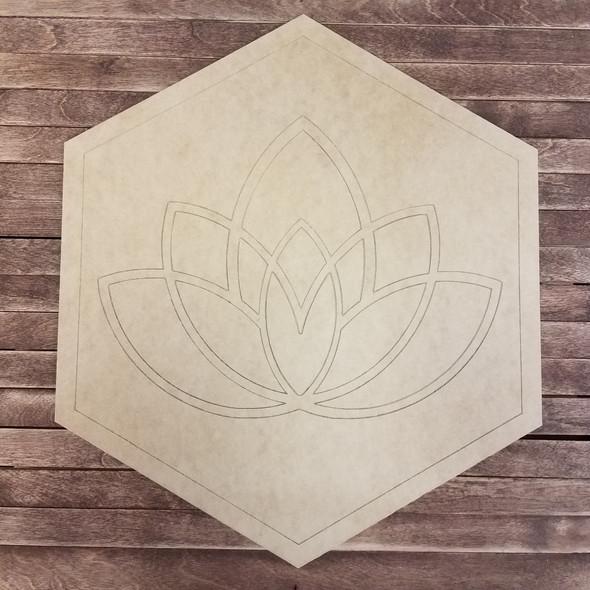 Lotus, Boho Style Unfinished Wood Shape Paint by Line