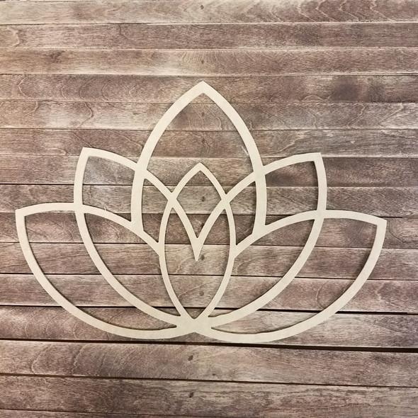 Carolina Queen Lotus Blossom, Boho Style Unfinished Wood Shape