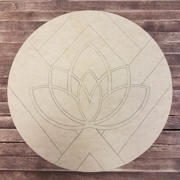 Carolina Queen Lotus,Boho Style Unfinished Wood Paint by Line Shape