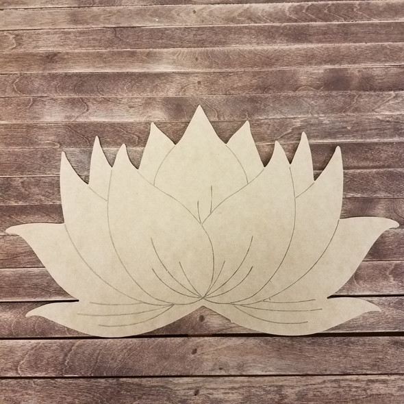 Lotus Blossom Flower, Boho Style Paint By Line Unfinished Wood Shape