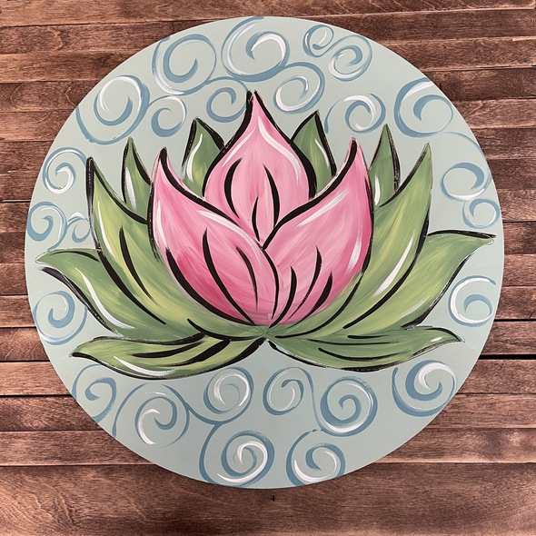 Circle Lotus Blossom Shape, Boho Style Paint By Line