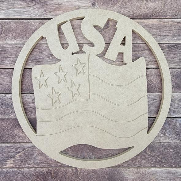 USA American Flag Circle, Engraved DIY Craft Shape