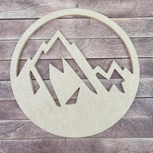 Mountain Art Circle, Engraved DIY Craft Shape