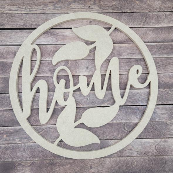 Home Floral Circle, Engraved DIY Craft Shape
