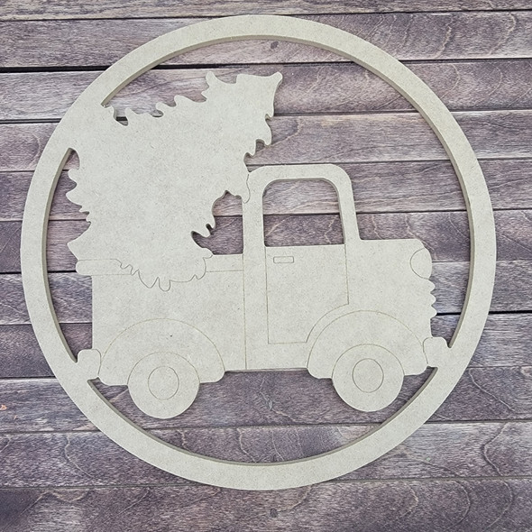 Retro Truck With Tree Circle, Engraved DIY Craft Shape