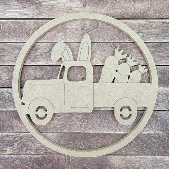 Bunny Carrot Truck  Circle, Engraved DIY Craft Shape