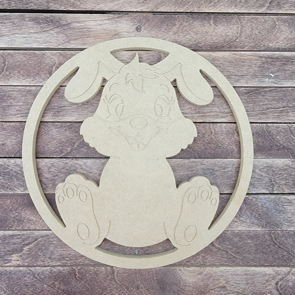 Easter Bunny Circle, Engraved DIY Craft Shape