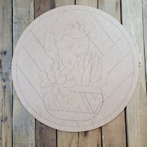Cactus & Succulent Flowers Circle, Boho Style Paint by Line Unfinished Wood Shape