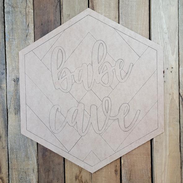 Babe Cave Boho Hexagon Art, Paint by Line Unfinished Wood Shape
