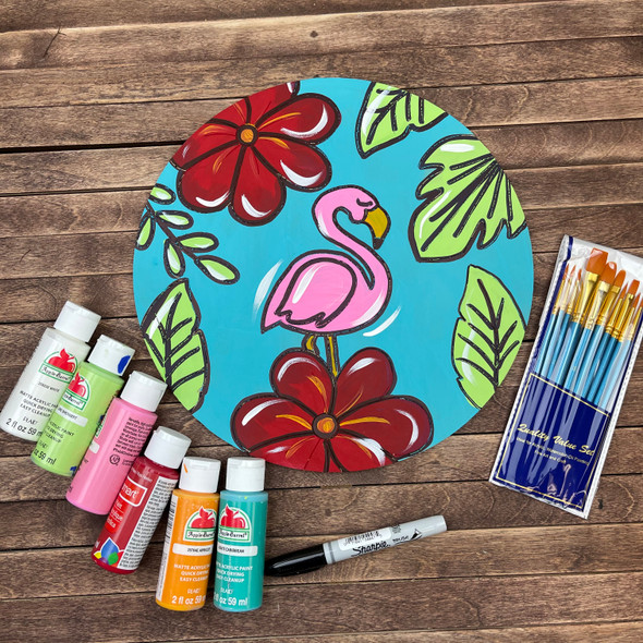 Flamingo Circle Paint Kit, DIY Wood Cutout, Video Tutorial and Instructions