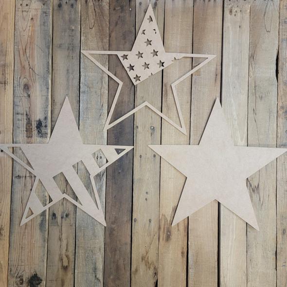 "18"" Layered American Flag Patriotic Décor 3 Piece Set, Unfinished Art"