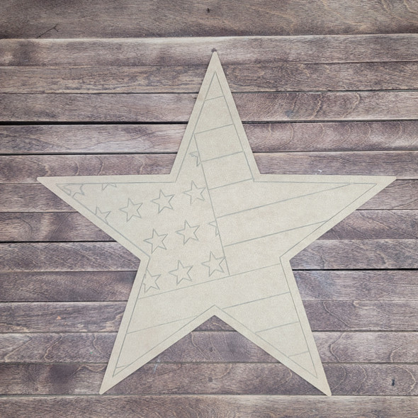 Patriotic American Flag Star Shape, Paint by Line Unfinished Wood Cutout