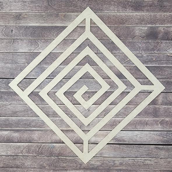 Diamond Boho Wall Art Design, Unfinished Wood Cutout