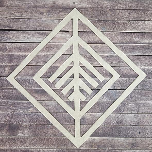 Unique Boho Style Wall Décor, Diamond Shape Unfinished Wood Cutout