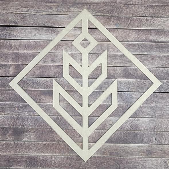 Unique Diamond Shape Boho Style Cutout, Unfinished Wood Design