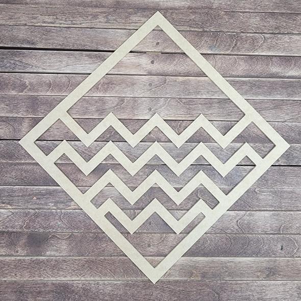 Geometric Design Boho Art, Diamond Shape Unfinished Wood Cutout