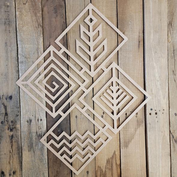 Diamond Collage Boho Wall Art, Unfinished Wood Design